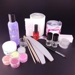 Akriliniai nagai - priemonių rinkinys nagų prailginimui su spalvotu akrilu
