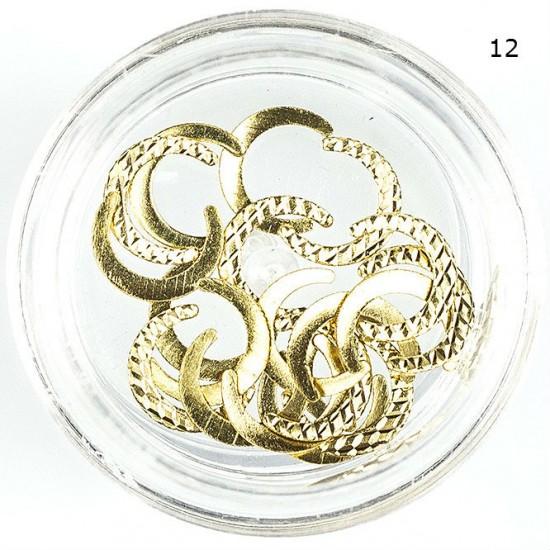 Aukso spalvos metaliniai nagų papuošalai 12 skirtingų pasirinkimų