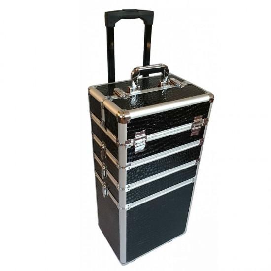 Keturių dalių kosmetinis lagaminas su ratukais