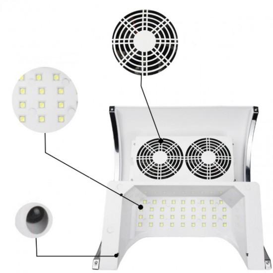 Daugiafunkcinis prietaisas manikiūrui dulkių surinkėjas-lempa ir porankis viename
