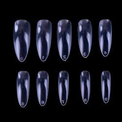 Migdolo formos tipsai nagams skaidrūs maišelyje 600 vnt