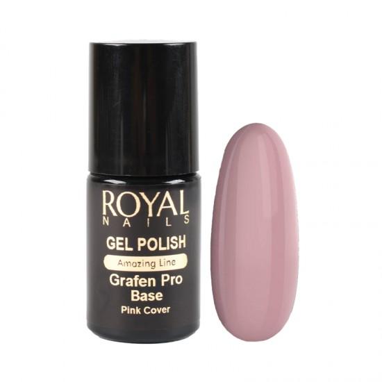 Kaučiukinis pagrindas geliniam lakavimui su atspalviu Royal Nails Grafen Pro Base Pink Cover