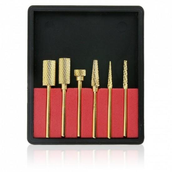 Profesionalus karbido antgalių rinkinys aukso spalvos 6 vnt.