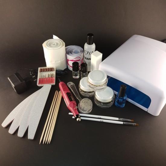 Rinkinys su vienfaziu geliu, UV 36W lempa ir mini freza