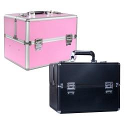 Kosmetinis lagaminas su išimamu dėklu statiems buteliukams