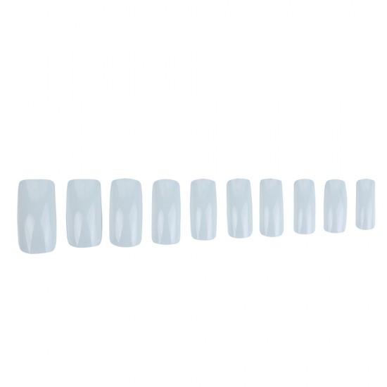 Kvadrato formos be kišenės balti tipsai nagams dėžutėje 100 vnt