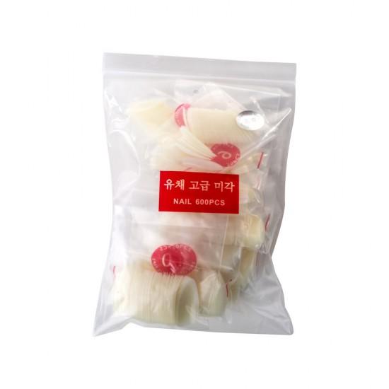 Ovalo formos tipsai nagams pieno spalvos maišelyje 600 vnt