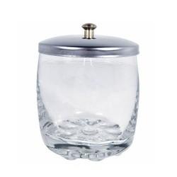 Skaidrus stiklinis indelis su nerūdijančio plieno dangteliu