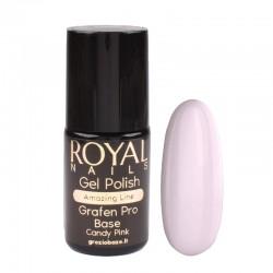 Kaučiukinis pagrindas geliniam lakavimui su atspalviu Royal Nails Grafen Pro Base Candy Pink
