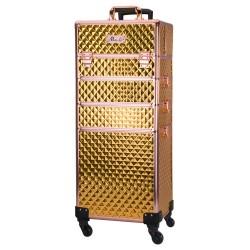 Kosmetikos lagaminas XXXL 4in1 GOLD ant 360 laipsnių besisukančiais ratukais