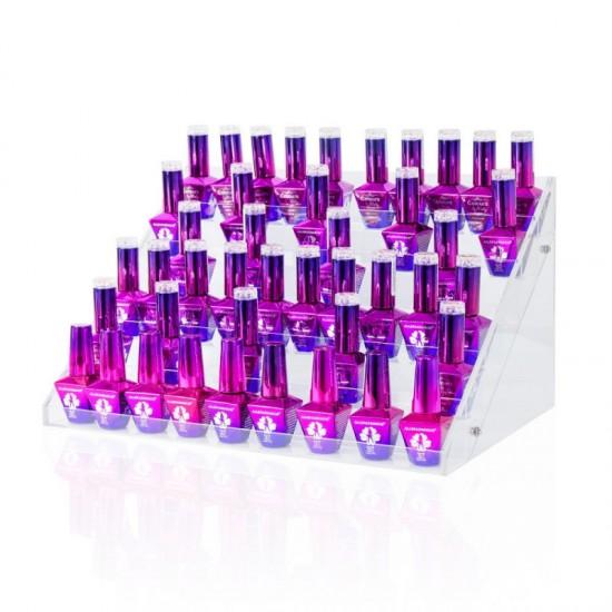 60 vietų ekspozicinis stovelis nagų lako buteliukams su 6 lentynomis