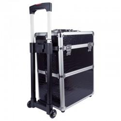 Dvigubas kosmetikos lagaminas su nuimamais ratukais