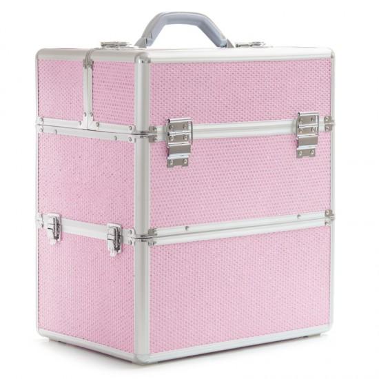 Dvigubas blizgus kosmetinis lagaminas
