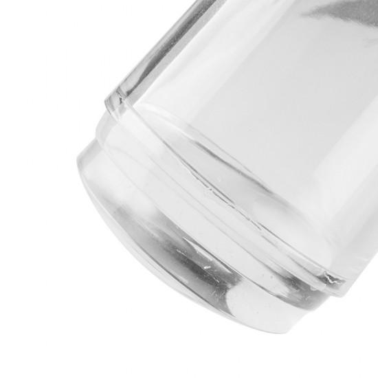 Didelis silikoninis antspaudas dizainams su valytuvu ir apsauginiu kištuku permatomu korpusu