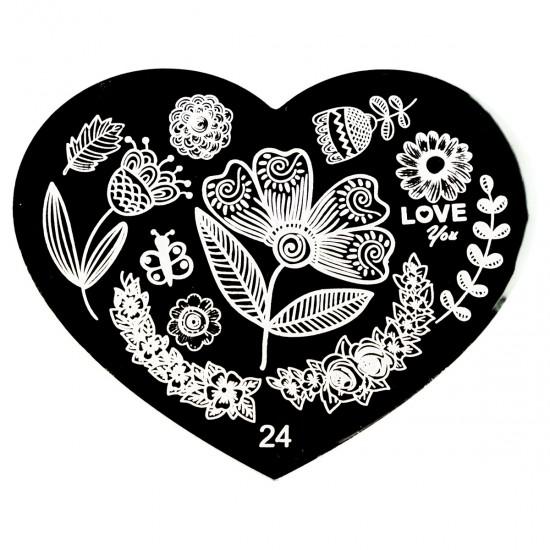 Širdelės formos antspaudų plokštelės nagų dailei