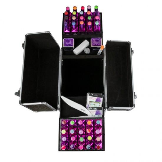 Kosmetinis lagaminas su letynomis buteliukams ir ratukais