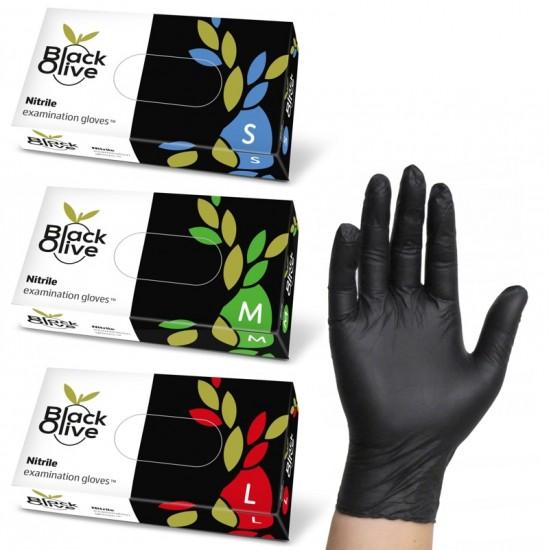Nitrilinės juodos spalvos pirštinės be pudros Doman Black Olive