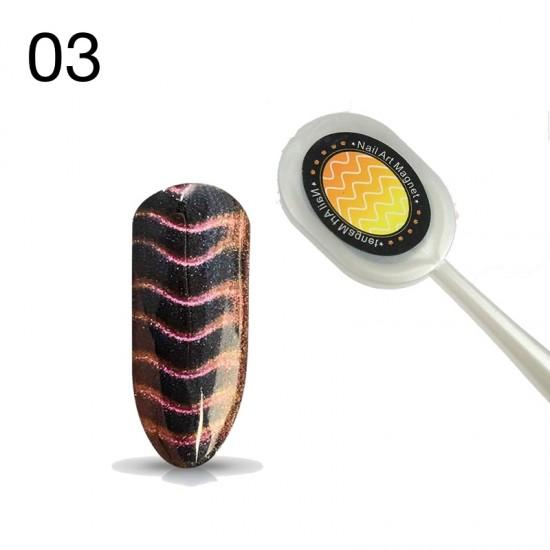 Ovalus magnetukas katės akies efektams