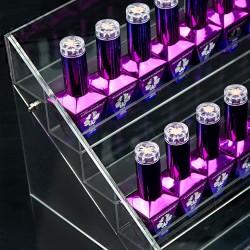 Platus ekspozicinis stovelis nagų lako buteliukams su 6 lentynomis
