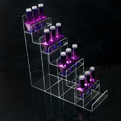 Siauras ir aukštas ekspozicinis stovelis nagų lako buteliukams su 8 lentynomis